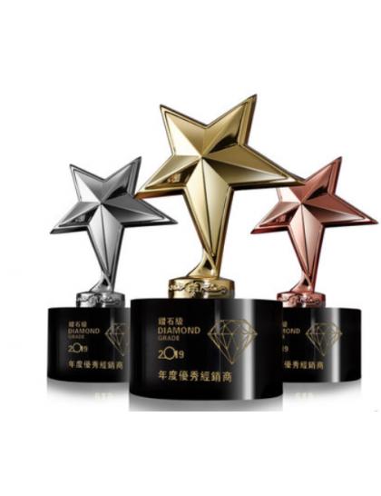 水晶獎座C0036 - 金屬 星星